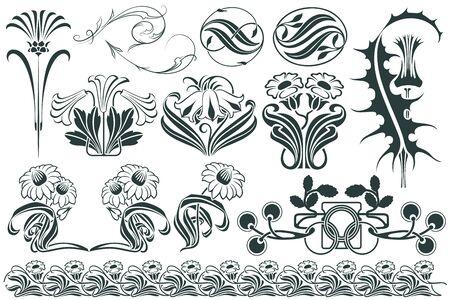 art nouveau frame: Vector set flower vignette  on different versions for decoration and design Illustration