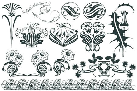 nouveau: Vector set flower vignette  on different versions for decoration and design Illustration