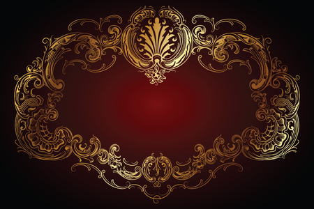 rococo style: Vector luxury frame with border in rococo style for advertisements, wedding, invitations or greeting cards