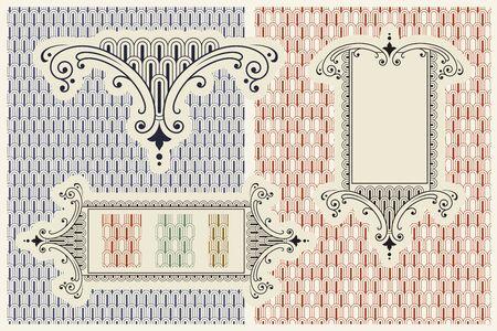 artnouveau: Vector ornaments. Pattern, symbol, label.