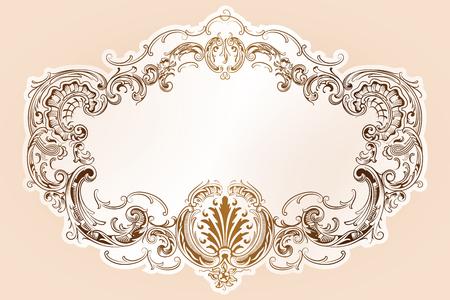 広告、結婚式の招待状やグリーティング カードのロココ スタイルの境界線とベクトルの高級フレーム  イラスト・ベクター素材