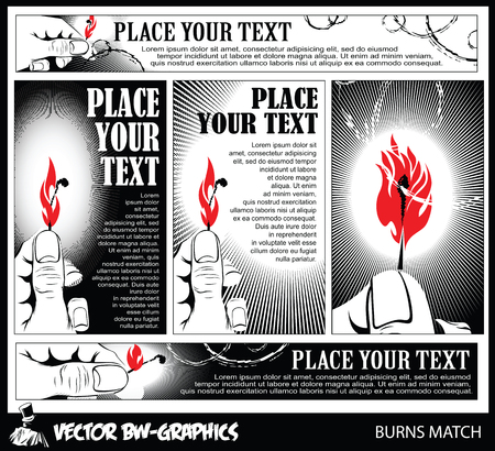 open flame: Black and white Vector banner. Burning match in her hand