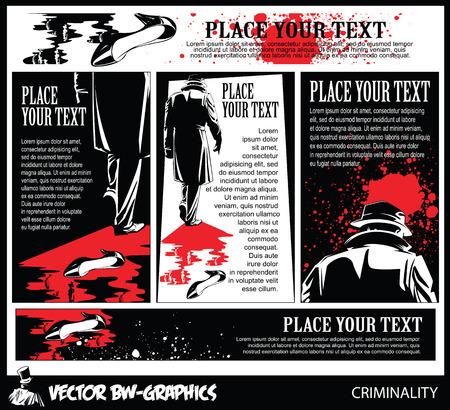 crime scene: Black and white Vector banner. The killer leaves the scene of the crime