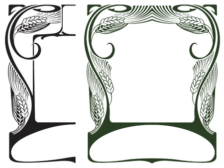 art nouveau border: Vector abstract framework from the bound lines and wheat ears for decoration and design