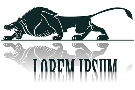 leones: Vector plantilla de tatuaje. Imagen estilo gr�fico del le�n con larga sombra.