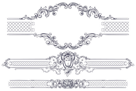 rococo style: Vector luxury frame and border in rococo style for advertisements, wedding, invitations or greeting cards