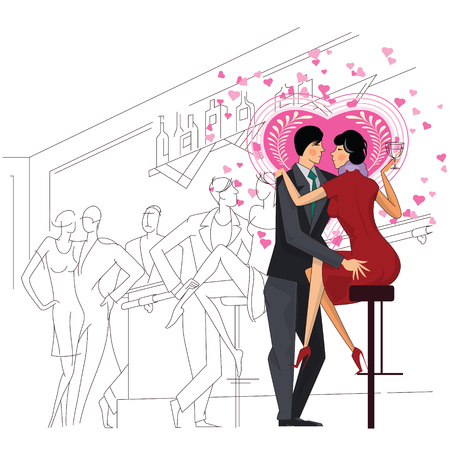 anything: Vector stock illustration. A loving couple in a bar does not notice anything around