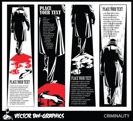 hitman: Black and white Vector banner. The killer leaves the scene of the crime