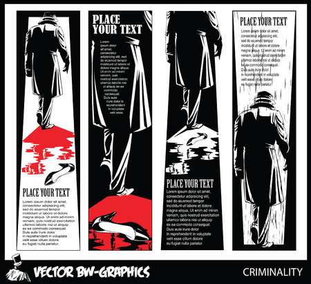 Black and white Vector banner. The killer leaves the scene of the crime