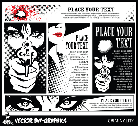 woman with gun: Black and white Vector banner. Girl with a gun. In the eyes of the skull.