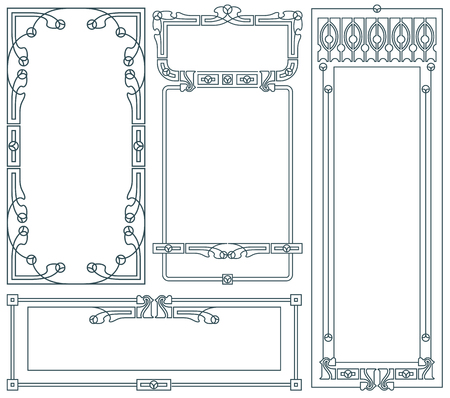 nouveau: Advertisements, flyer, web, wedding  and other invitations or greeting cards. Vector template.