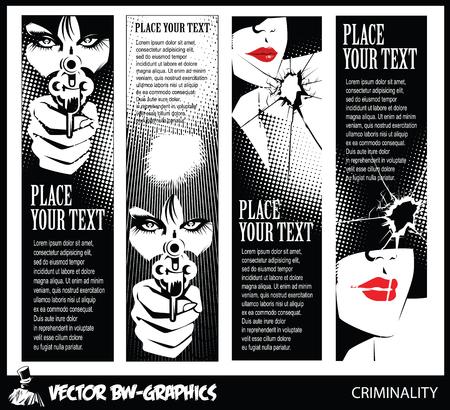 fille sexy: Noir et blanc Vector banner. Fille avec une arme à feu. Dans les yeux du crâne. Illustration