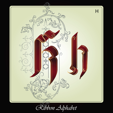 initials: Initials of the English alphabet of holiday ribbon and plants. Illustration