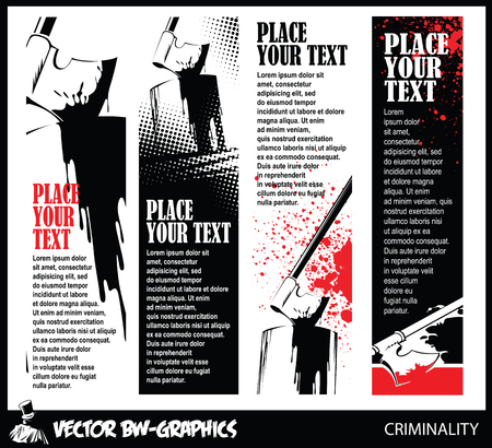 blade cut: Black and white banner. Axe of the executioner in the block. Illustration