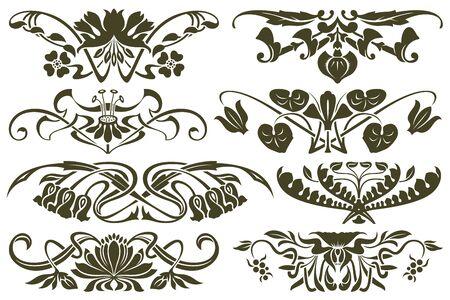 art nouveau frame: set flower vignette on different versions for decoration and design