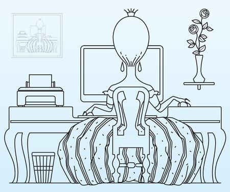 persona feliz: Vector de la ilustración. Princesa trabaja en la computadora