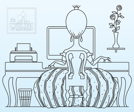 happy person: Vector stock illustration. Princess working at the computer