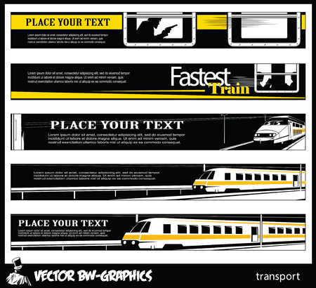 hovercraft: Black and white Vector banner. Railroad and train.