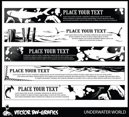 lagoon: Black and white Vector banner. Underwater world.