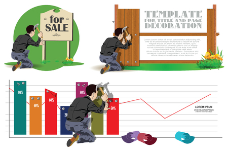 fixing: Stock illustration. A man working with a hammer. He nailed boards, chart and sign.