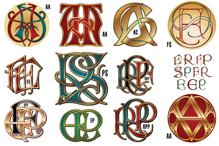 gothic style: Set monograms for design corporate identity.