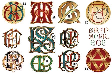 Set monograms for design corporate identity.
