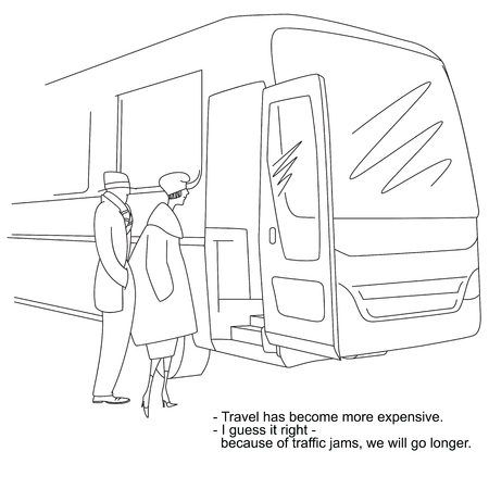 Stock illustration. Caricature about fares and traffic congestion.  イラスト・ベクター素材