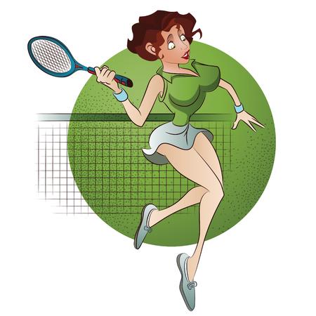 racquetball: Ilustración del vector. Volantes plantilla. Beutiful tenis niña jugando.