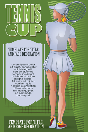 Vector Illustration Template Flyers Beutiful Girl Playing Tennis