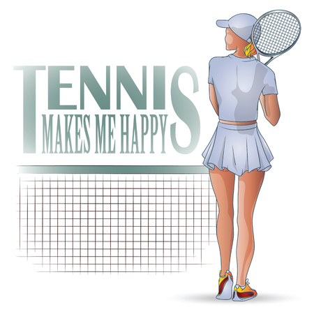 racquetball: Vector Illustration. Template flyers. Beutiful girl playing tennis.