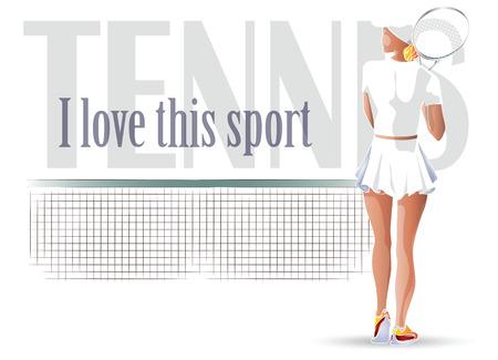racquetball: Ilustraci�n del vector. Volantes plantilla. Beutiful tenis ni�a jugando.