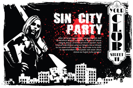 sin city: Vector BW Illustration. Template flyers. Sin City party. A man with a gun.