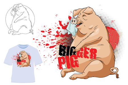 bigger: Vector stock illustration. Template t-shirts. Bigger Pig.
