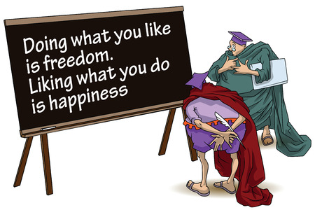 liking: Funny wise men discuss inspirational motivational quote. Doing what you like is freedom. Liking what you do is happiness