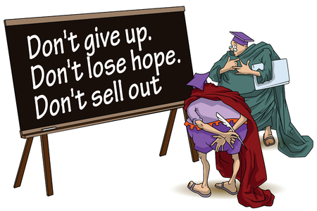 dont give up: Funny wise men discuss inspirational motivational quote. Dont give up. Dont lose hope. Dont sell out.