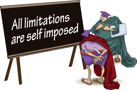 limitations: Funny wise men discuss inspirational motivational quote. All limitations are self imposed. Illustration
