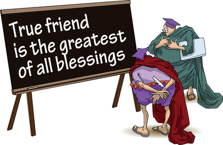 blessings: Funny wise men discuss inspirational motivational quote. True friend is the greatest of all blessings. Illustration