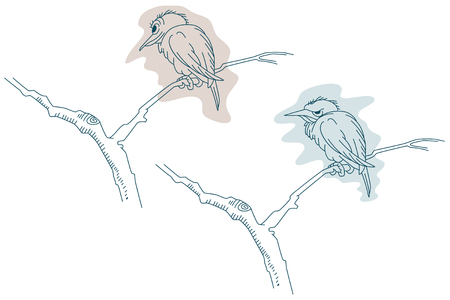 satisfied: Stock illustration. Line graphic. Bird on a branch. Satisfied and offended.