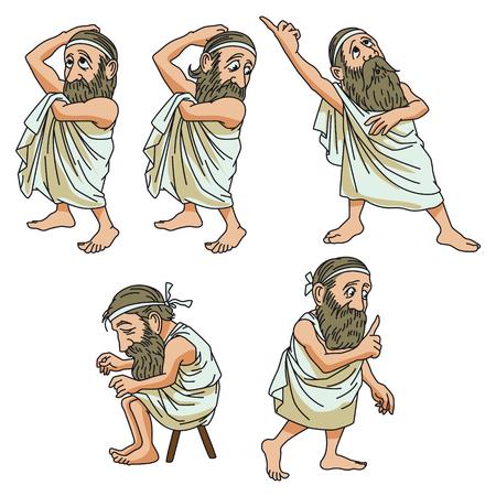 Grappig stock illustratie. Een wijs man in verschillende poses.