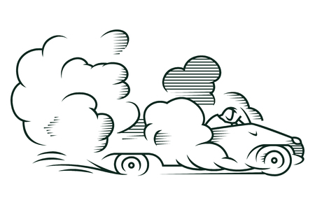 quickly: Stock illustration. Auto quickly riding in a cloud of dust. Illustration