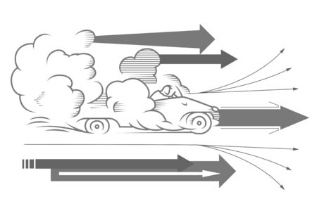 Stock illustration. Auto quickly riding in a cloud of dust. Quick start of business. Иллюстрация