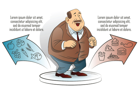 eating food: Stock illustration. Funny infographics. Healthy lifestyle.