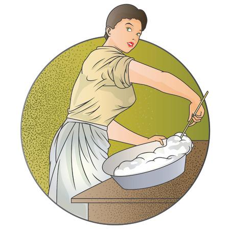 preparing food: Stock illustration. Girl is preparing food. Illustration