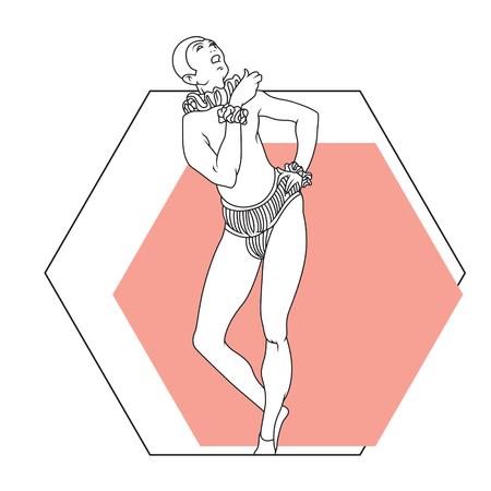 arlecchino: Dell'illustrazione. grafica di linea. L'eroe del teatro. Arlecchino.