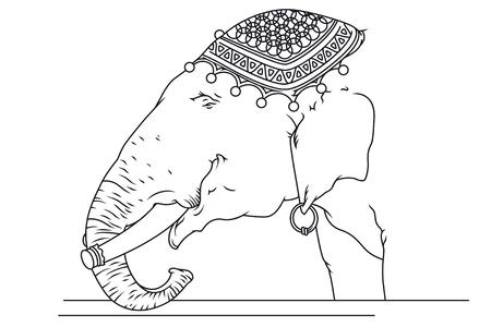 pierced ears: Stock illustration. Circus elephant with pierced ears.