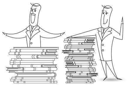 bob: Stock illustration. A man named Bob and a stacks of books.