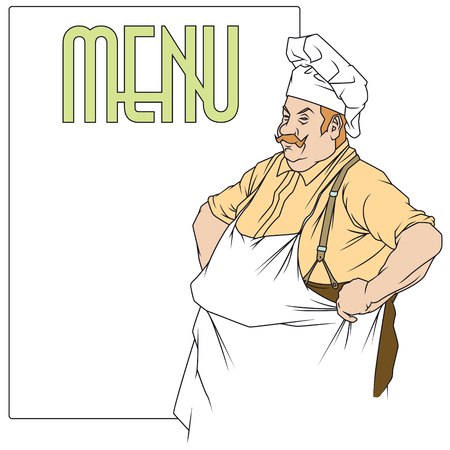 side menu: Stock illustration. Chef with a place under the menu.