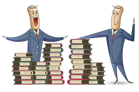 learning series: Stock illustration. A man named Bob and a stacks of books.