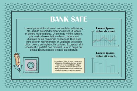 bank safe: The template for presentation in the style of flat lines. Bank safe. Illustration