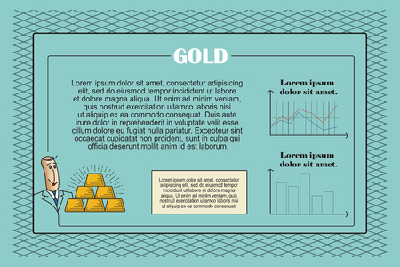 secure growth: The template for presentation in the style of flat lines. Gold.